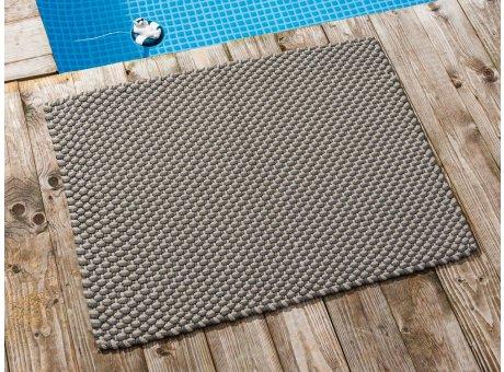 Pad Fussmatte Outdoor Teppich POOL Stone Grau Sand 72x92 cm zweifarbig am Schwimmbecken oder auf der Terrasse als Fussmatte UV und Wetterbeständig Web-Look für draussen und drinnen