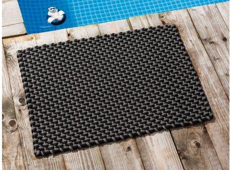 Pad Fussmatte Outdoor Teppich POOL Stone Grau Schwarz 52x72 cm zweifarbig am Schwimmbecken oder auf der Terrasse als Fussmatte UV und Wetterbeständig Web-Look für draussen und drinnen