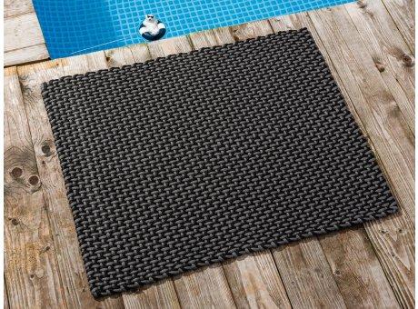 Pad Fussmatte Outdoor Teppich POOL Stone Grau Schwarz 72x92 cm zweifarbig am Schwimmbecken oder auf der Terrasse als Fussmatte UV und Wetterbeständig Web-Look für draussen und drinnen