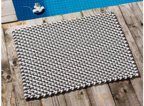 Pad Fussmatte Outdoor Teppich POOL Stone Grau Weiss 52x72 cm zweifarbig am Schwimmbecken oder auf der Terrasse als Fussmatte UV und Wetterbeständig Web-Look für draussen und drinnen