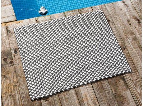 Pad Fussmatte Outdoor Teppich POOL Stone Grau Weiss 72x92 cm zweifarbig am Schwimmbecken oder auf der Terrasse als Fussmatte UV und Wetterbeständig Web-Look für draussen und drinnen