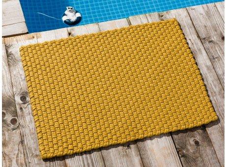 Pad Fussmatte Outdoor Teppich UNI Gelb 52x72 cm am Schwimmbecken oder auf der Terrasse als Fussmatte UV und Wetterbeständig Web-Look für draussen und drinnen