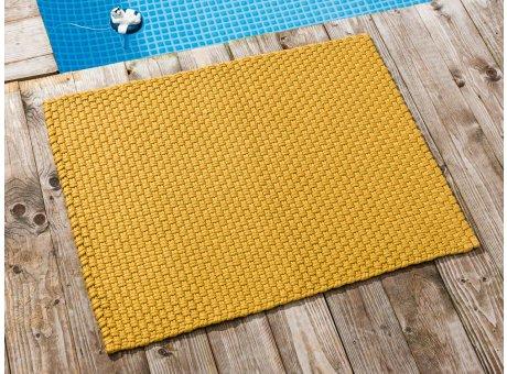 Pad Fussmatte Outdoor Teppich UNI Gelb 72x92 cm am Schwimmbecken oder auf der Terrasse als Fussmatte UV und Wetterbeständig Web-Look für draussen und drinnen