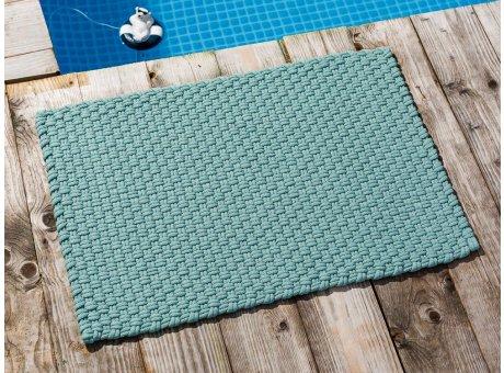 Pad Fussmatte Outdoor Teppich UNI Opal Aqua Türkis 52x72 cm am Schwimmbecken oder auf der Terrasse als Fussmatte Läufer UV und Wetterbeständig Web-Look für draussen und drinnen
