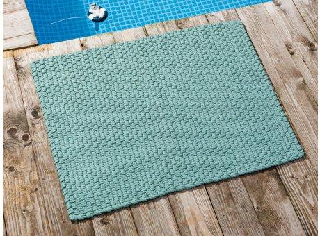 Pad Fussmatte Outdoor Teppich UNI Opal Aqua Türkis 72x92 cm am Schwimmbecken oder auf der Terrasse als Fussmatte Läufer UV und Wetterbeständig Web-Look für draussen und drinnen