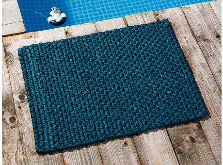 Pad Fussmatte Outdoor Teppich UNI Petrol 52x72 cm am Schwimmbecken oder auf der Terrasse als Fussmatte UV und Wetterbeständig Web-Look für draussen und drinnen