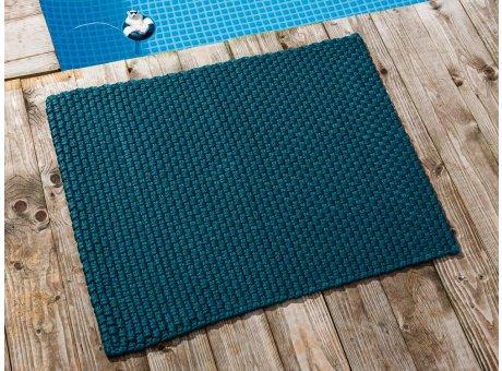 Pad Fussmatte Outdoor Teppich UNI Petrol 72x92 cm am Schwimmbecken oder auf der Terrasse als Fussmatte UV und Wetterbeständig Web-Look für draussen und drinnen
