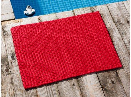 Pad Fussmatte Outdoor Teppich UNI Rot 52x72 cm am Schwimmbecken oder auf der Terrasse als Fussmatte UV und Wetterbeständig Web-Look für draussen und drinnen