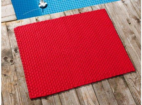Pad Fussmatte Outdoor Teppich UNI Rot 72x92 cm am Schwimmbecken oder auf der Terrasse als Fussmatte UV und Wetterbeständig Web-Look für draussen und drinnen