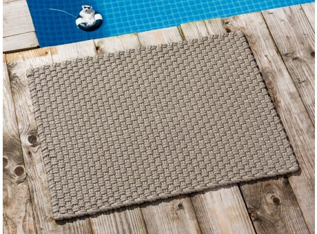 Pad Fussmatte Outdoor Teppich UNI Sand 52x72 cm am Schwimmbecken oder auf der Terrasse als Fussmatte UV und Wetterbeständig Web-Look für draussen und drinnen