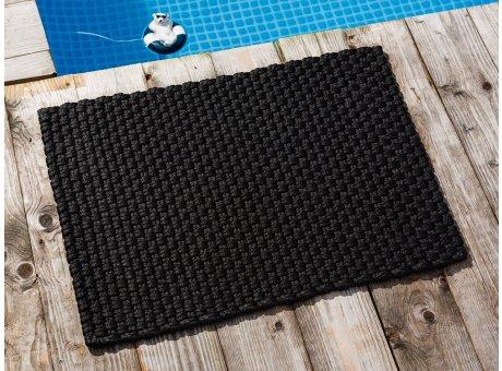 Pad Fussmatte Outdoor Teppich UNI Schwarz 52x72 cm am Schwimmbecken oder auf der Terrasse als Fussmatte UV und Wetterbeständig Web-Look für draussen und drinnen