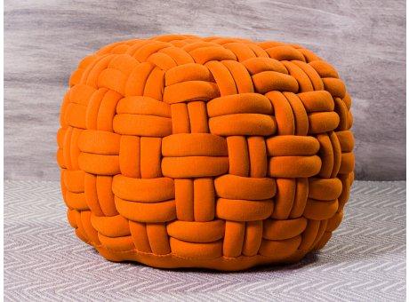 Pad Hocker Lokken Orange Knoten Design Pouf Sitzkissen aus Polyester 59x40 cm Modern