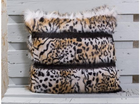 Pad Kissen Colorado beige Tiger Fellkissen mit Fell Streifen in schwarz