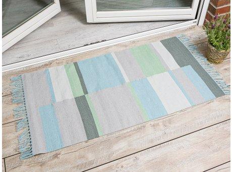 Pad Outdoor Matte Unique aqua türkis blau 72x132 läufer Pad Concept Teppich für innen und außen mit Streifen und Fransen