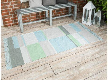 Pad Outdoor Matte Unique aqua türkis blau 92x172 läufer Pad Concept Teppich für innen und außen mit Streifen und Fransen