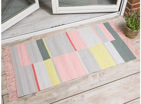 Pad Outdoor Matte Unique rosa pink 72x132 groß läufer Pad Concept Teppich für innen und außen mit Streifen und Fransen