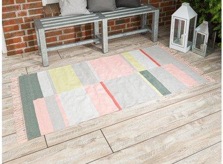 Pad Outdoor Matte Unique rosa pink 92x172 groß läufer Pad Concept Teppich für innen und außen mit Streifen und Fransen