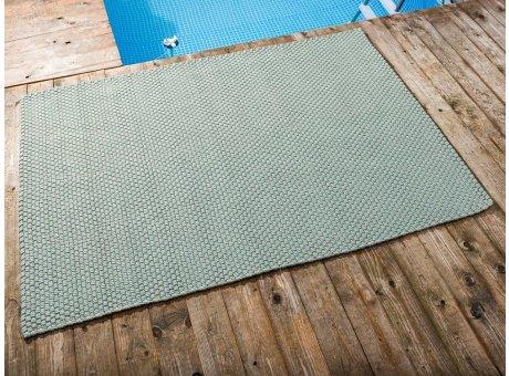 Pad Outdoor Teppich POOL Opal Türkis Sand 140x200 cm zweifarbig am Schwimmbecken oder auf der Terrasse als Fussmatte 1,4x2 Meter UV und Wetterbeständig Web-Look für draussen und drinnen