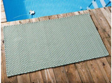 Pad Outdoor Teppich POOL Opal Türkis Sand 72x132 cm zweifarbig am Schwimmbecken oder auf der Terrasse als Fussmatte UV und Wetterbeständig Web-Look für draussen und drinnen