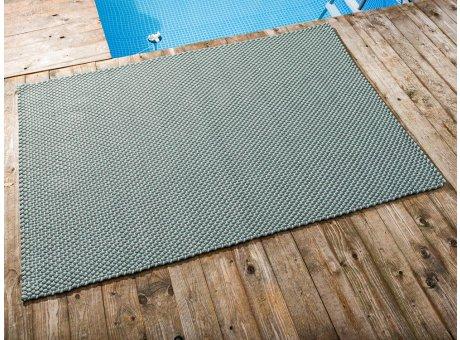 Pad Outdoor Teppich POOL Opal Türkis Stone Grau 140x200 cm zweifarbig am Schwimmbecken oder auf der Terrasse als Fussmatte 1,4x2 Meter UV und Wetterbeständig Web-Look für draussen und drinnen