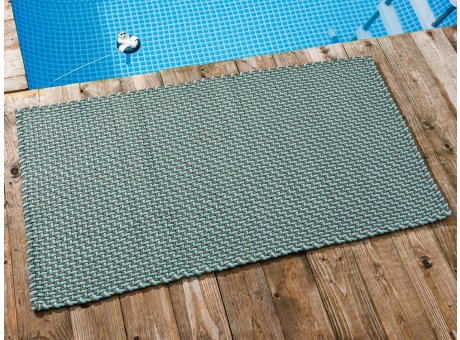 Pad Outdoor Teppich POOL Opal Türkis Stone Grau 72x132 cm zweifarbig am Schwimmbecken oder auf der Terrasse als Fussmatte UV und Wetterbeständig Web-Look für draussen und drinnen