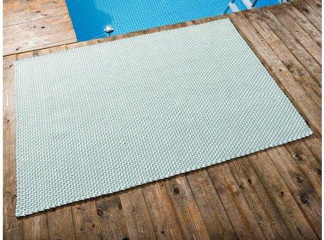 Pad Outdoor Teppich POOL Opal Türkis Weiss 140x200 cm zweifarbig am Schwimmbecken oder auf der Terrasse als Fussmatte 1,4x2 Meter UV und Wetterbeständig Web-Look für draussen und drinnen