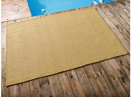 Pad Outdoor Teppich POOL Sand Gelb 140x200 cm zweifarbig am Schwimmbecken oder auf der Terrasse als Fussmatte 1,4x2 Meter UV und Wetterbeständig Web-Look für draussen und drinnen