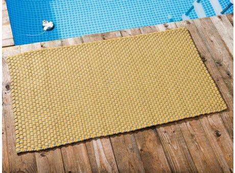 Pad Outdoor Teppich POOL Sand Gelb 72x132 cm zweifarbig am Schwimmbecken oder auf der Terrasse als Fussmatte UV und Wetterbeständig Web-Look für draussen und drinnen