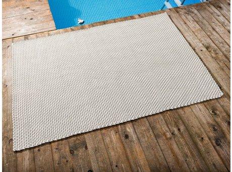 Pad Outdoor Teppich POOL Sand Weiss 140x200 cm zweifarbig am Schwimmbecken oder auf der Terrasse als Fussmatte 1,4x2 Meter UV und Wetterbeständig Web-Look für draussen und drinnen