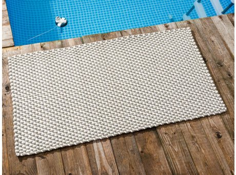 Pad Outdoor Teppich POOL Sand Weiss 72x132 cm zweifarbig am Schwimmbecken oder auf der Terrasse als Fussmatte UV und Wetterbeständig Web-Look für draussen und drinnen