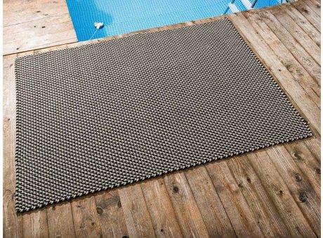Pad Outdoor Teppich POOL Schwarz Sand 140x200 cm zweifarbig am Schwimmbecken oder auf der Terrasse als Fussmatte 1,4x2 Meter UV und Wetterbeständig Web-Look für draussen und drinnen