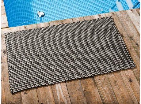 Pad Outdoor Teppich POOL Schwarz Sand 72x132 cm zweifarbig am Schwimmbecken oder auf der Terrasse als Fussmatte UV und Wetterbeständig Web-Look für draussen und drinnen
