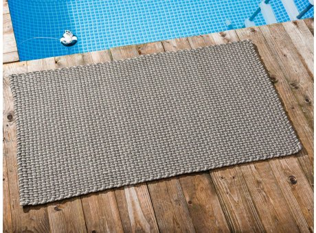 Pad Outdoor Teppich POOL Stone Grau Sand 72x132 cm zweifarbig am Schwimmbecken oder auf der Terrasse als Fussmatte UV und Wetterbeständig Web-Look für draussen und drinnen