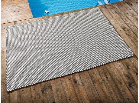 Pad Outdoor Teppich POOL Stone Grau Weiss 140x200 cm zweifarbig am Schwimmbecken oder auf der Terrasse als Fussmatte 1,4x2 Meter UV und Wetterbeständig Web-Look für draussen und drinnen