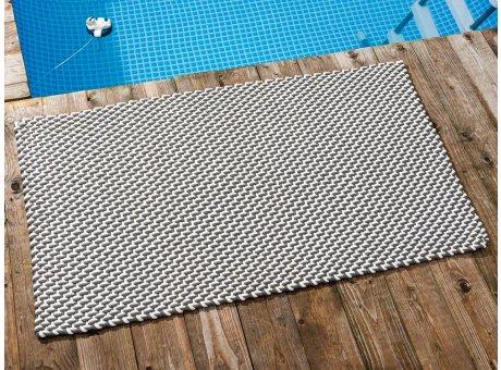 Pad Outdoor Teppich POOL Stone Grau Weiss 72x132 cm zweifarbig am Schwimmbecken oder auf der Terrasse als Fussmatte UV und Wetterbeständig Web-Look für draussen und drinnen