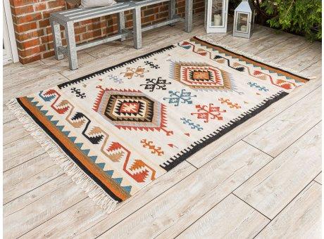 Pad Outdoor Teppich Quero rot beige Matte 140x200 groß Pad Concept Indianer Design Indoor Innen Deko