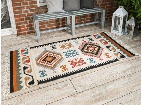 Pad Outdoor Teppich Quero rot beige Matte 90x200 groß läufer Pad Concept Indianer Design Indoor Innen Deko