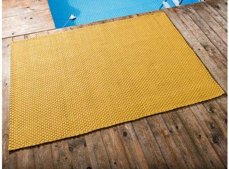 Pad Outdoor Teppich UNI Gelb 140x200 cm am Schwimmbecken oder auf der Terrasse als Fussmatte 1,4x2 Meter UV und Wetterbeständig Web-Look für draussen und drinnen