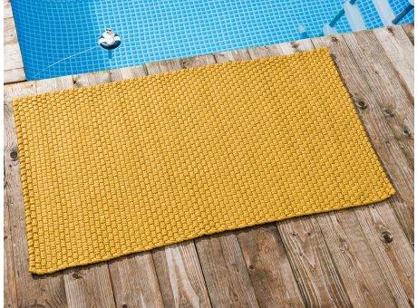 Pad Outdoor Teppich UNI Gelb 72x132 cm am Schwimmbecken oder auf der Terrasse als Fussmatte UV und Wetterbeständig Web-Look für draussen und drinnen