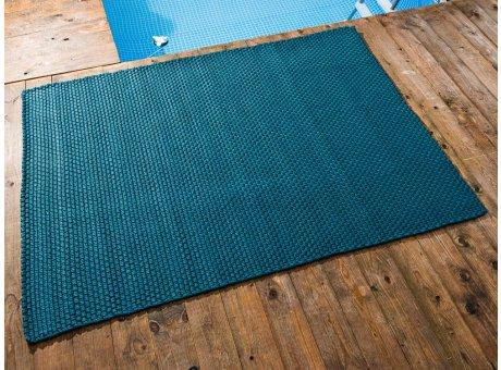 Pad Outdoor Teppich UNI Petrol 140x200 cm am Schwimmbecken oder auf der Terrasse als Fussmatte 1,4x2 Meter UV und Wetterbeständig Web-Look für draussen und drinnen