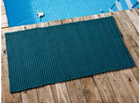Pad Outdoor Teppich UNI Petrol 72x132 cm am Schwimmbecken oder auf der Terrasse als Fussmatte UV und Wetterbeständig Web-Look für draussen und drinnen