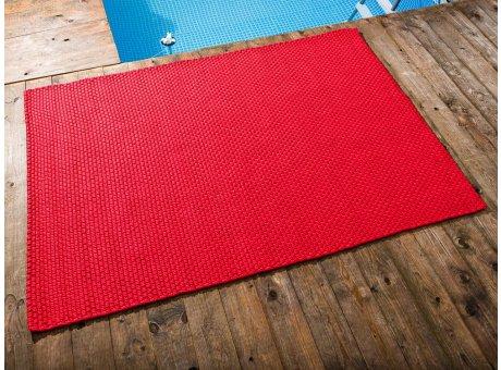 Pad Outdoor Teppich UNI Rot 140x200 cm am Schwimmbecken oder auf der Terrasse als Fussmatte 1,4x2 Meter UV und Wetterbeständig Web-Look für draussen und drinnen