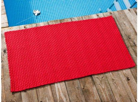 Pad Outdoor Teppich UNI Rot 72x132 cm am Schwimmbecken oder auf der Terrasse als Fussmatte UV und Wetterbeständig Web-Look für draussen und drinnen