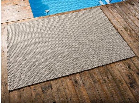 Pad Outdoor Teppich UNI Sand 140x200 cm am Schwimmbecken oder auf der Terrasse als Fussmatte 1,4x2 Meter UV und Wetterbeständig Web-Look für draussen und drinnen