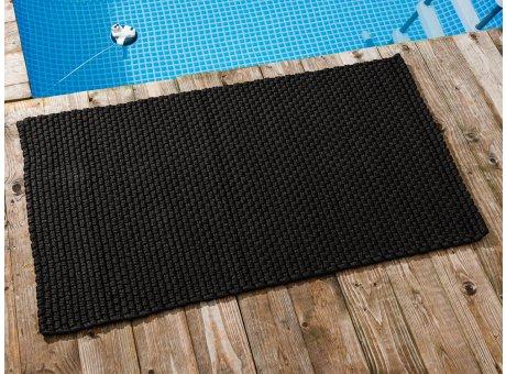 Pad Outdoor Teppich UNI Schwarz 72x132 cm am Schwimmbecken oder auf der Terrasse als Fussmatte UV und Wetterbeständig Web-Look für draussen und drinnen