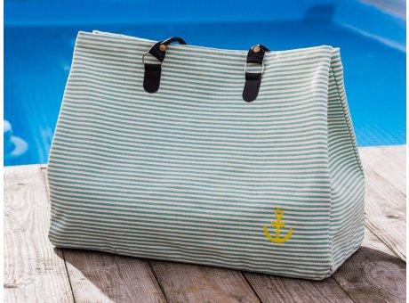 Pad Tasche Anker Aqua Türkis Weiss Streifen aus Baumwolle Shopper für den Strand Besuch oder am Pool 22x40x52cm