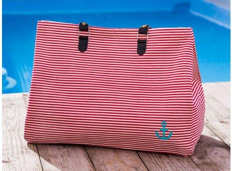 Pad Tasche Anker Rot Weiss Streifen aus Baumwolle Shopper für den Strand Besuch oder am Pool 22x40x52cm