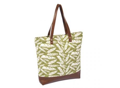 Pad Tasche Feather grün Shopper im Feder Design