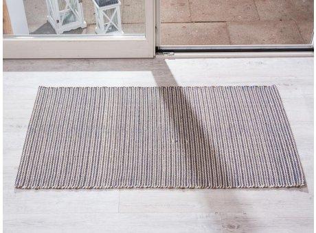 Pad Teppich Snap blau creme beige aus Baumwolle Wolle 72x132 cm