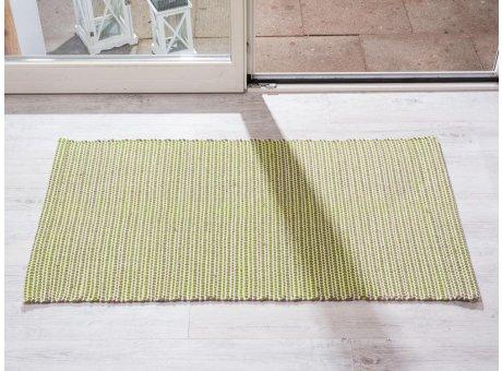 Pad Teppich Snap grün creme beige aus Baumwolle Wolle 72x132 cm